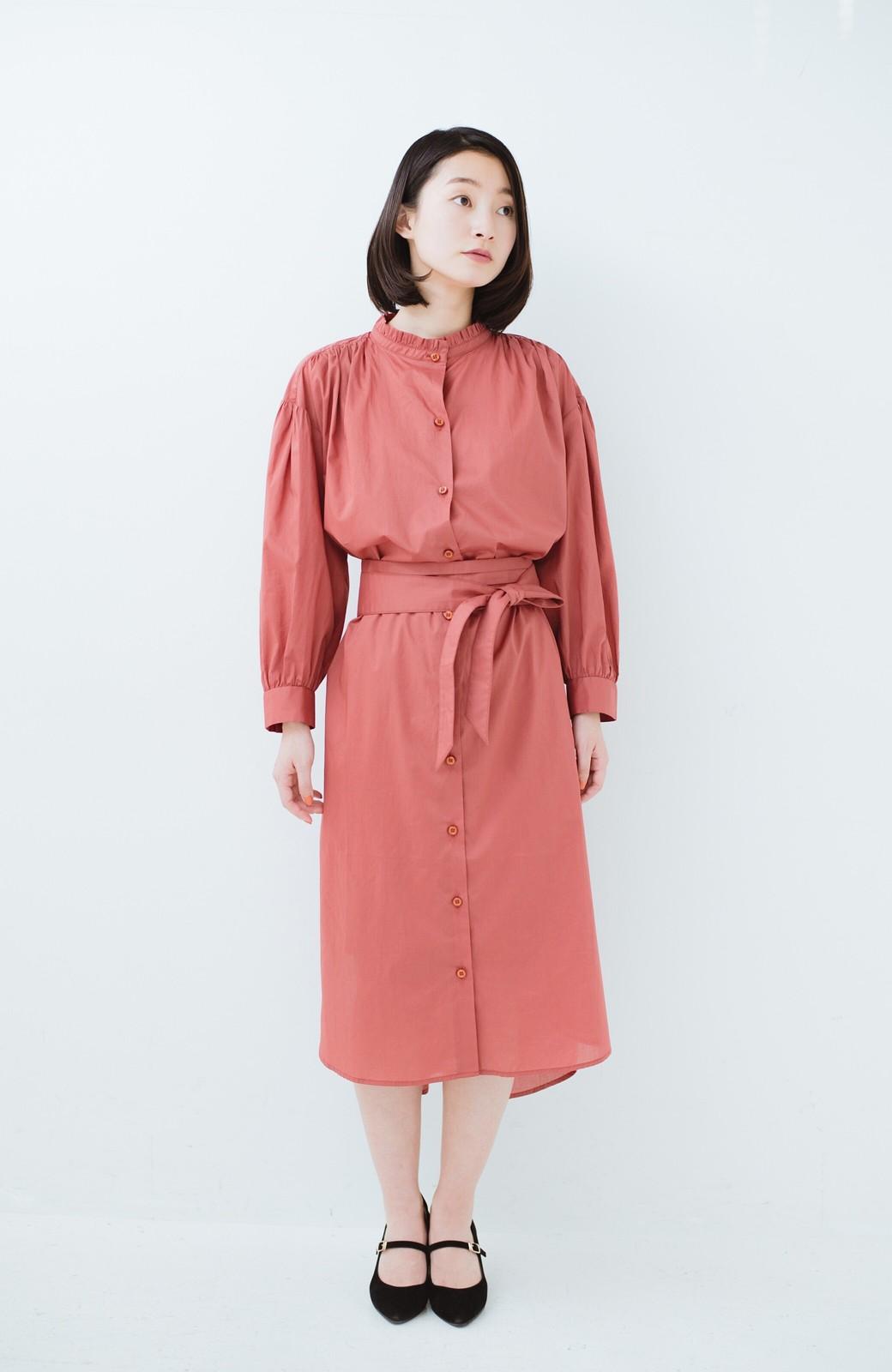 haco! 羽織りにもなって着回しのきくサッシュベルト付きシャツワンピース <ピンク>の商品写真7