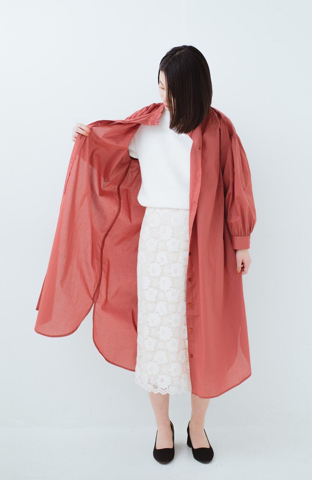 haco! 羽織りにもなって着回しのきくサッシュベルト付きシャツワンピース <ピンク>の商品写真11