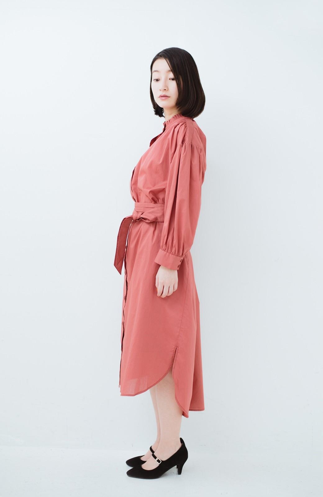 haco! 羽織りにもなって着回しのきくサッシュベルト付きシャツワンピース <ピンク>の商品写真15