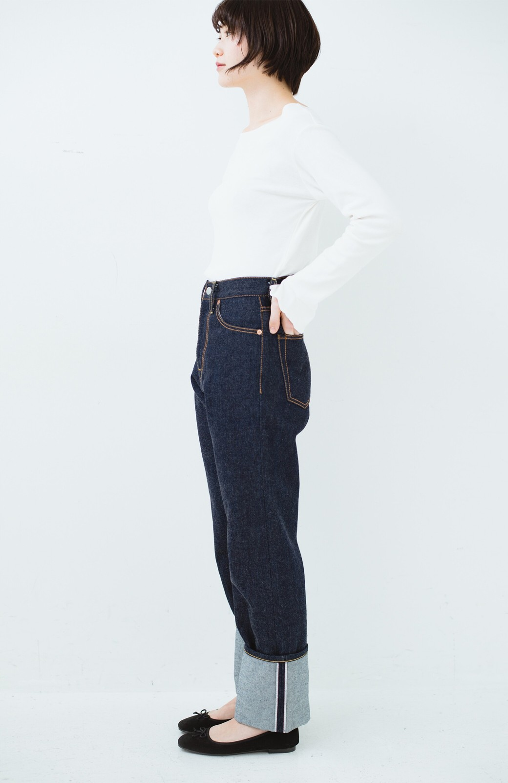 haco! MADE IN JAPAN 匠のハイウエストフェミニンデニム <インディゴブルー>の商品写真21