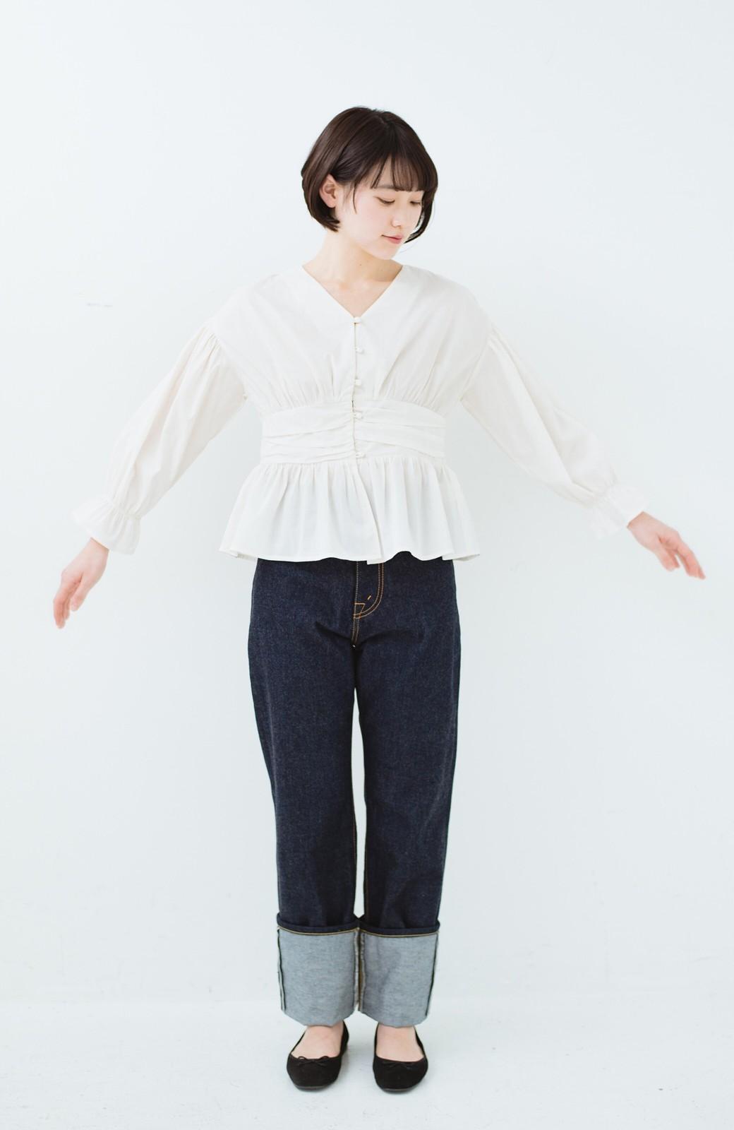 haco! MADE IN JAPAN 匠のハイウエストフェミニンデニム <インディゴブルー>の商品写真12