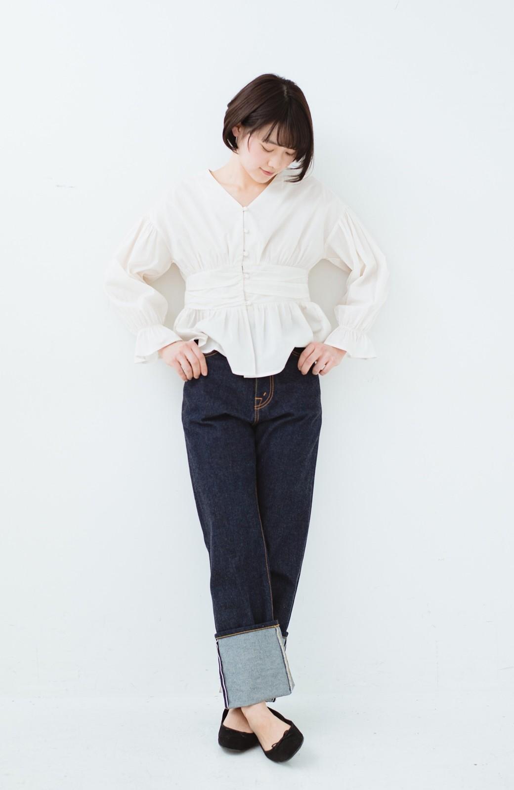 haco! MADE IN JAPAN 匠のハイウエストフェミニンデニム <インディゴブルー>の商品写真13