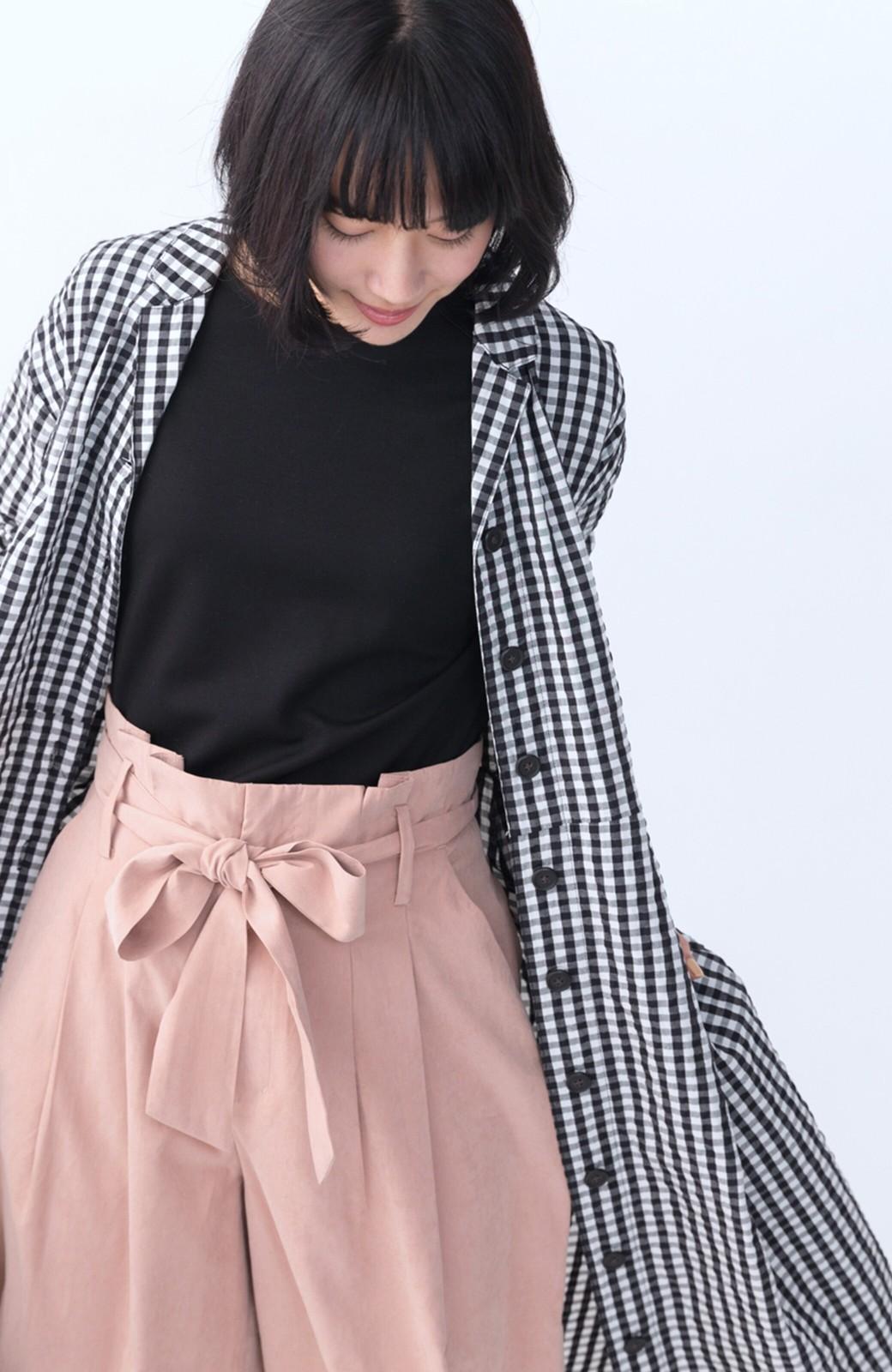 haco! いつものコーデに華やぎを添える ワンピースとしても着られるギンガムライトアウター <ブラック>の商品写真25