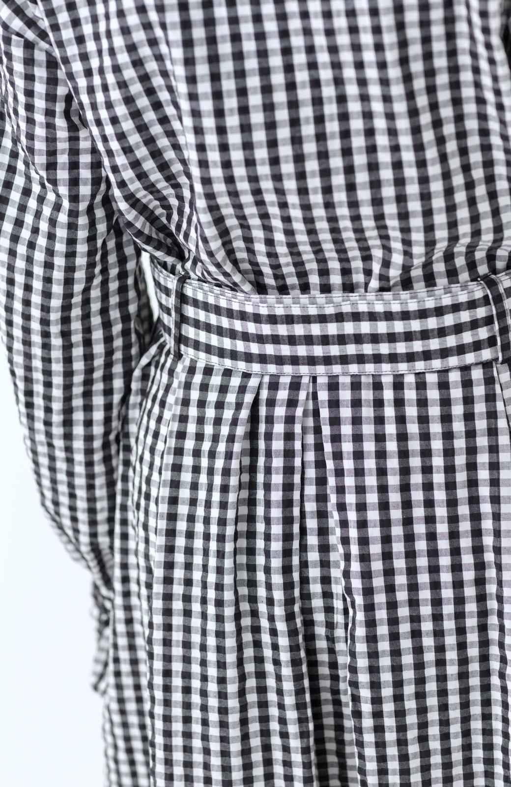haco! いつものコーデに華やぎを添える ワンピースとしても着られるギンガムライトアウター <ブラック>の商品写真29