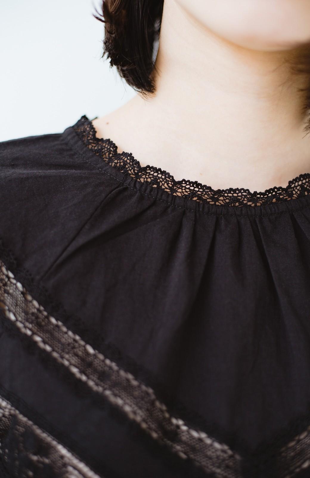 haco! 女の子がキュンとする コットンレースブラウス <ブラック>の商品写真3