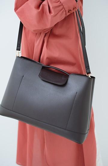 haco! さっと持って大人っぽい、きれいめワンショルダーバッグ <ブラック>の商品写真