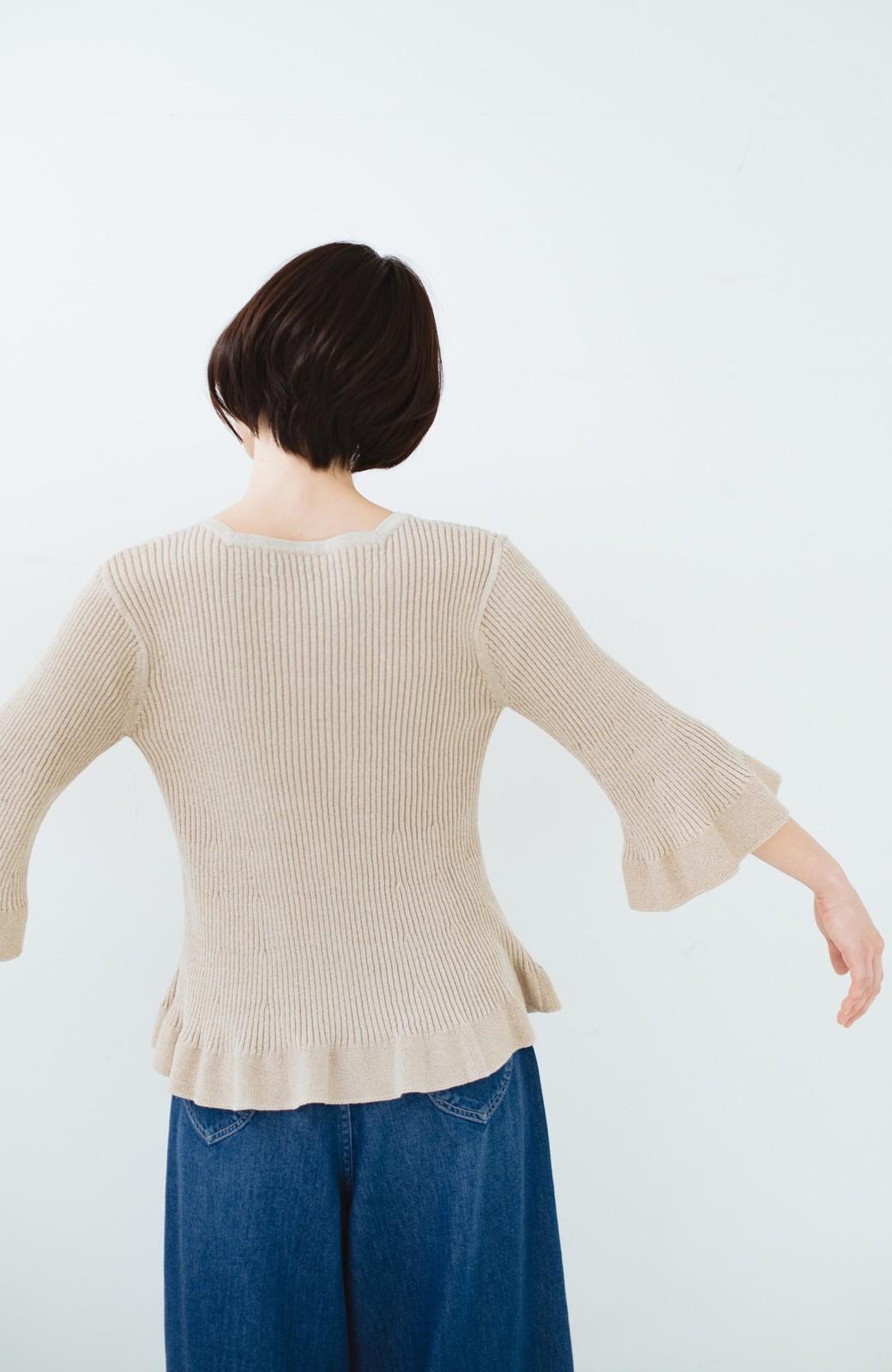haco! 普段着に見せつつちょっと華やかさが欲しい時に ラメ混素材のフレアーリブニット <ベージュ>の商品写真18