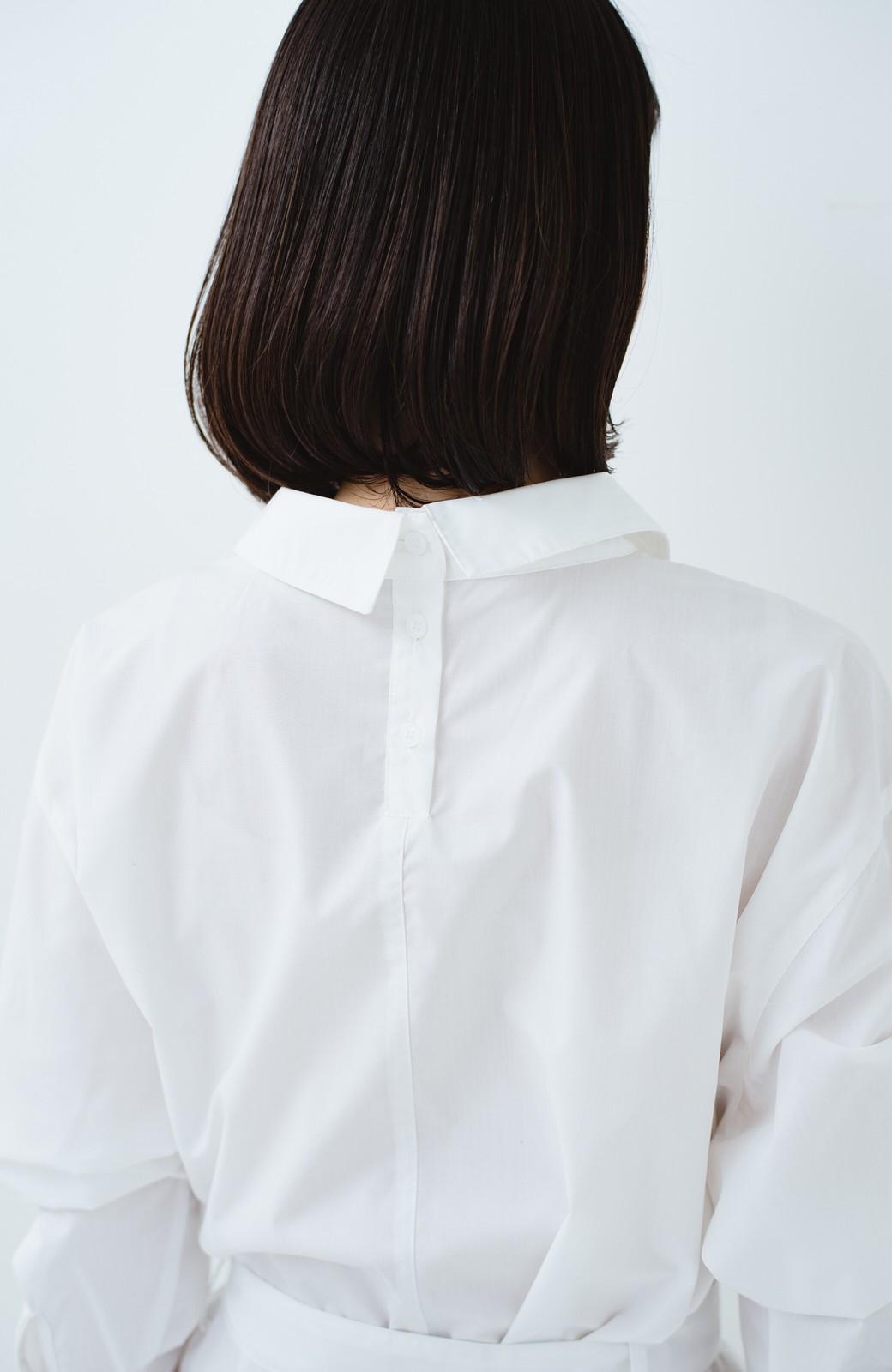 haco! 気持ちが凛と改まる リボン付きオーバーサイズシャツワンピース <ホワイト>の商品写真4