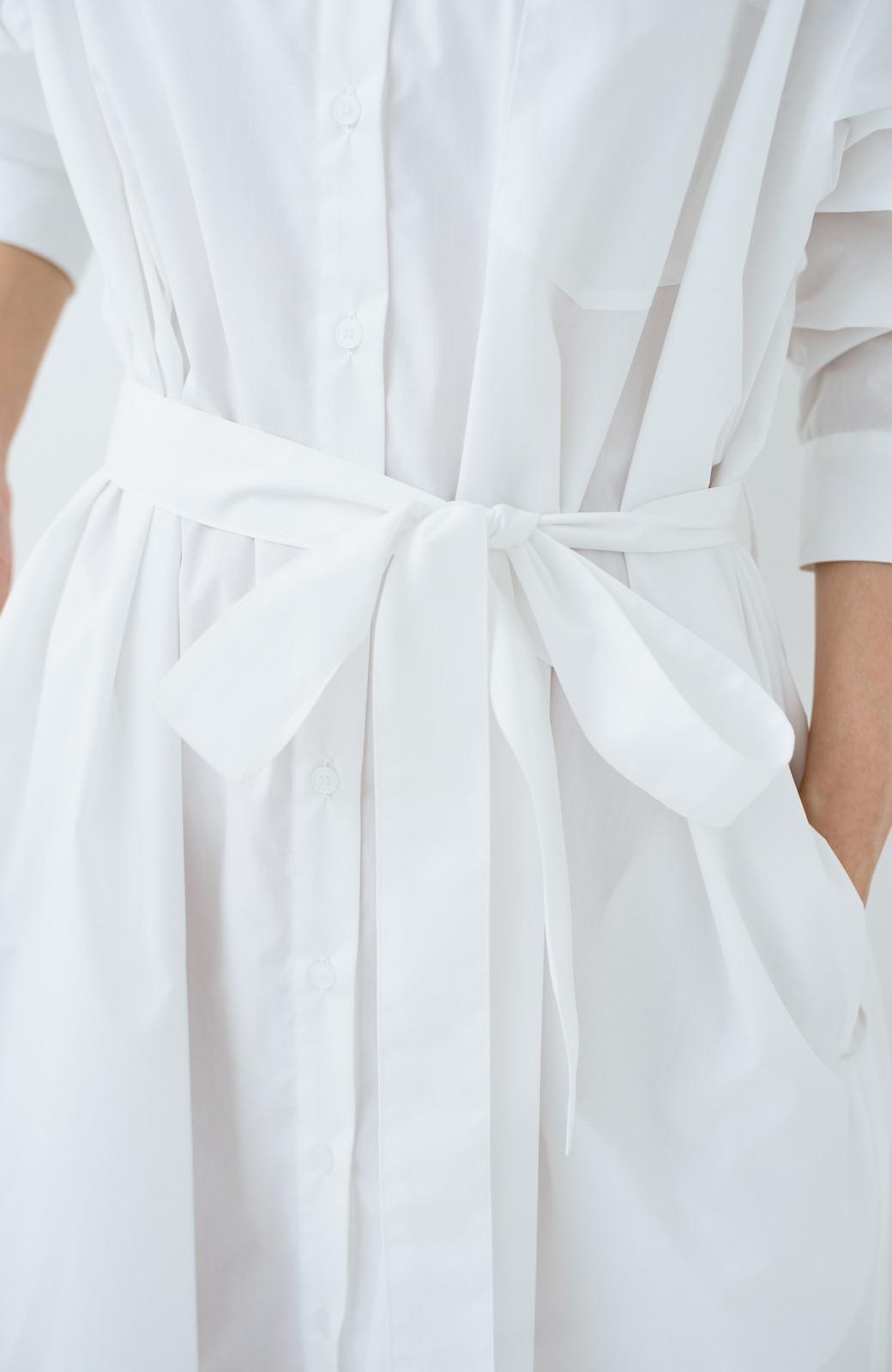 haco! 気持ちが凛と改まる リボン付きオーバーサイズシャツワンピース <ホワイト>の商品写真5