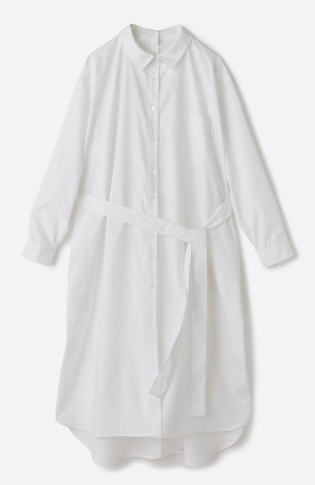 haco! 気持ちが凛と改まる リボン付きオーバーサイズシャツワンピース <ホワイト>の商品写真3