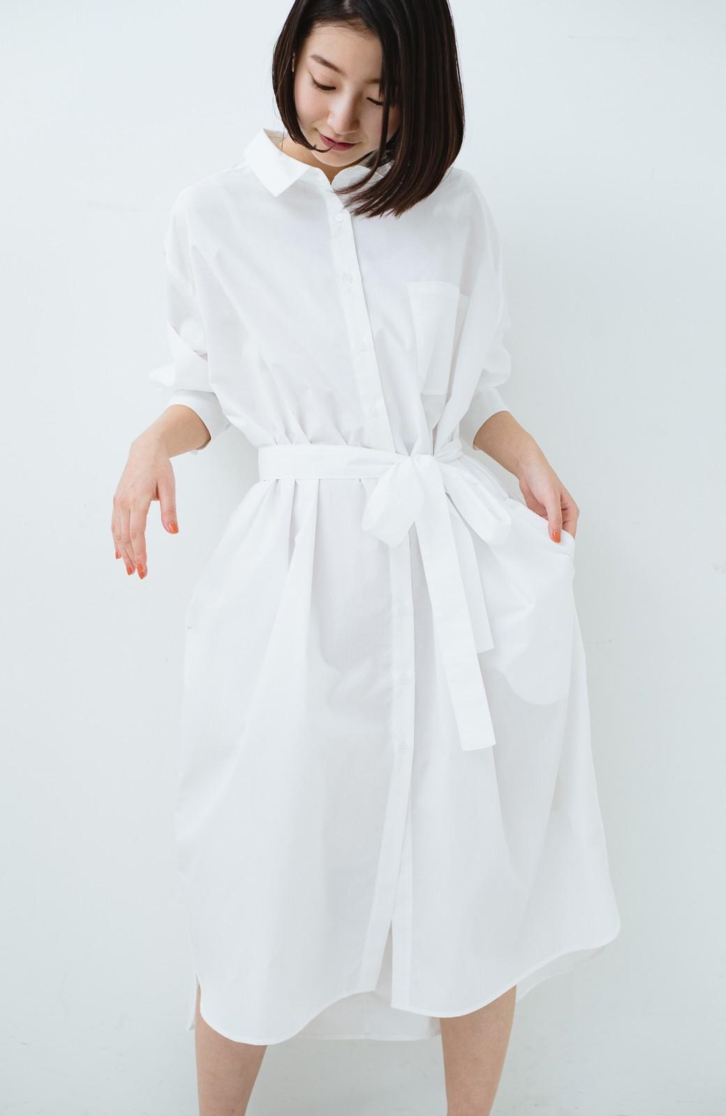 haco! 気持ちが凛と改まる リボン付きオーバーサイズシャツワンピース <ホワイト>の商品写真25