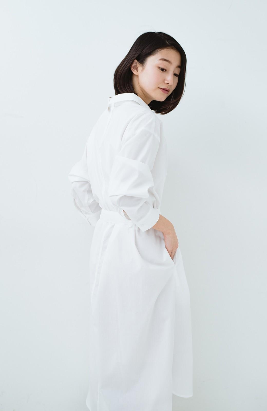 haco! 気持ちが凛と改まる リボン付きオーバーサイズシャツワンピース <ホワイト>の商品写真27