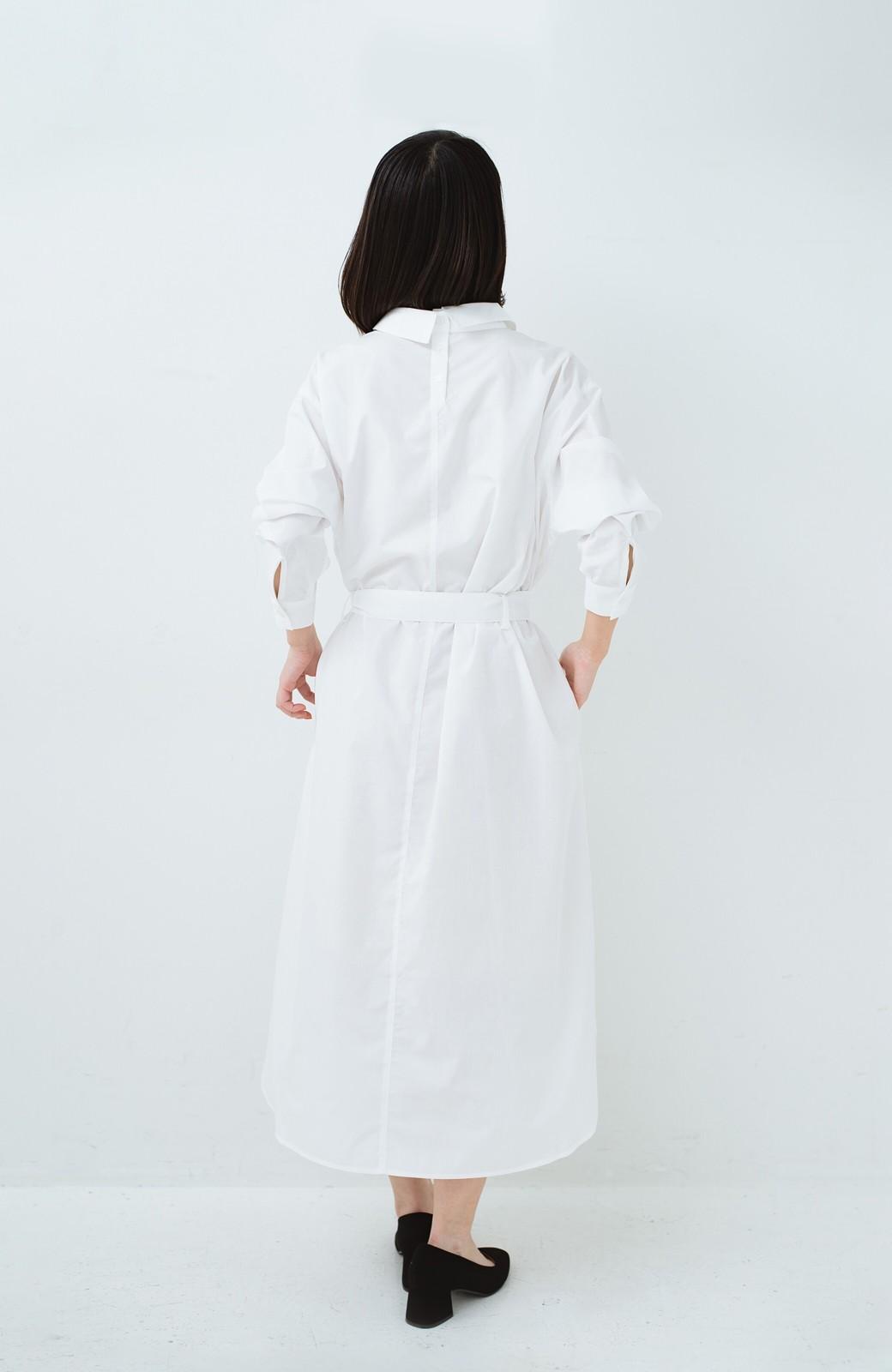haco! 気持ちが凛と改まる リボン付きオーバーサイズシャツワンピース <ホワイト>の商品写真18