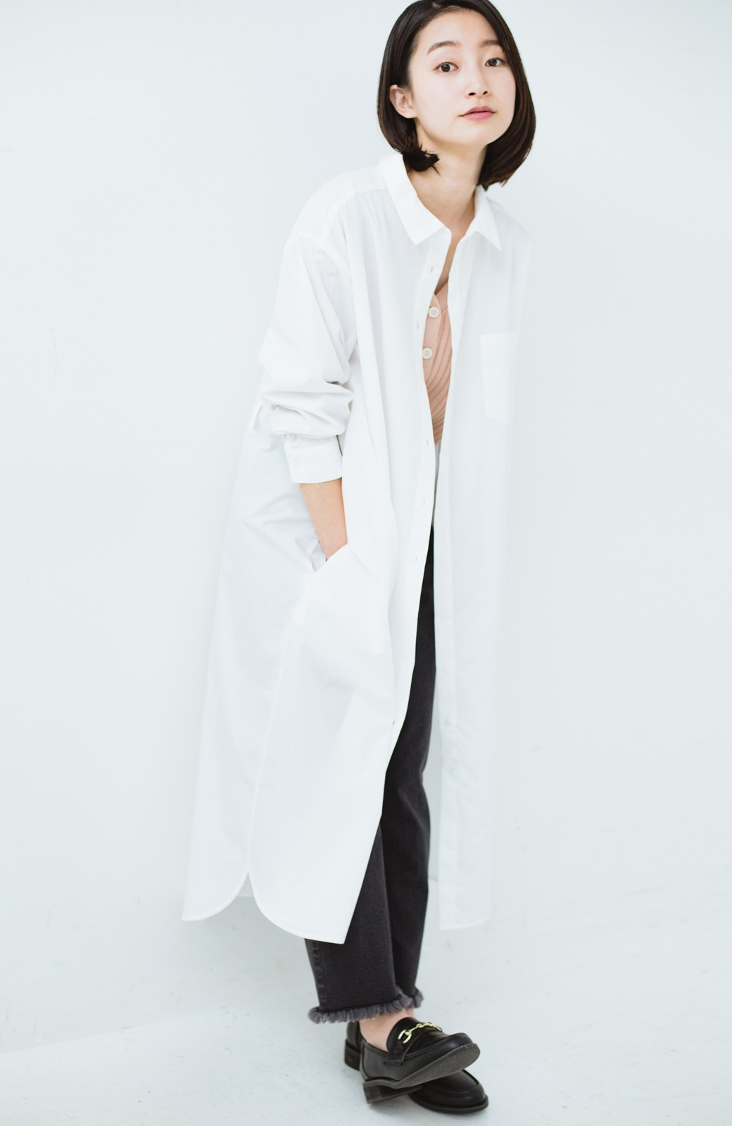haco! 気持ちが凛と改まる リボン付きオーバーサイズシャツワンピース <ホワイト>の商品写真19