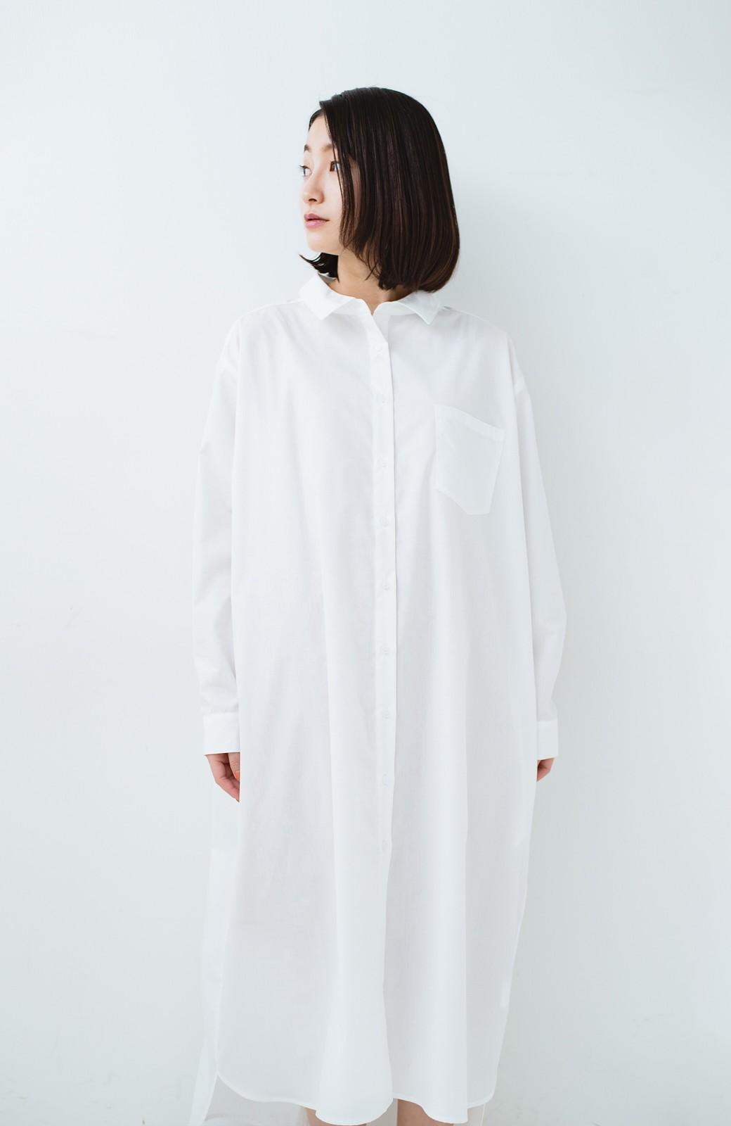haco! 気持ちが凛と改まる リボン付きオーバーサイズシャツワンピース <ホワイト>の商品写真20