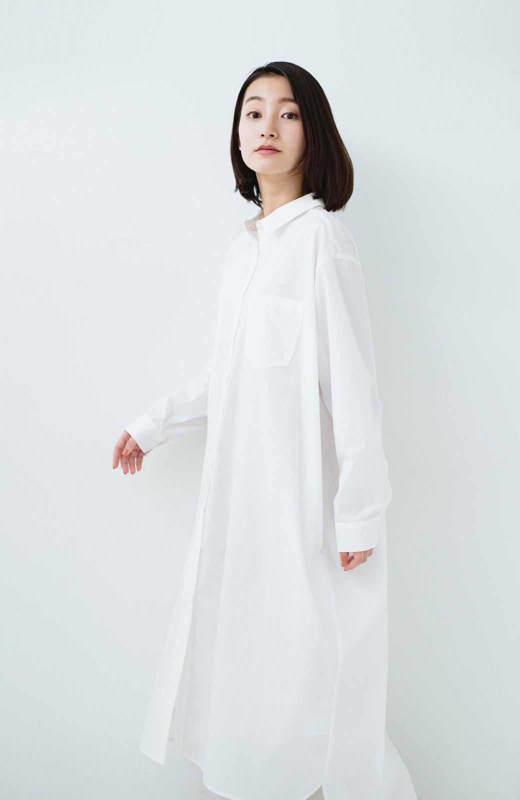 haco! 気持ちが凛と改まる リボン付きオーバーサイズシャツワンピース <ホワイト>の商品写真21
