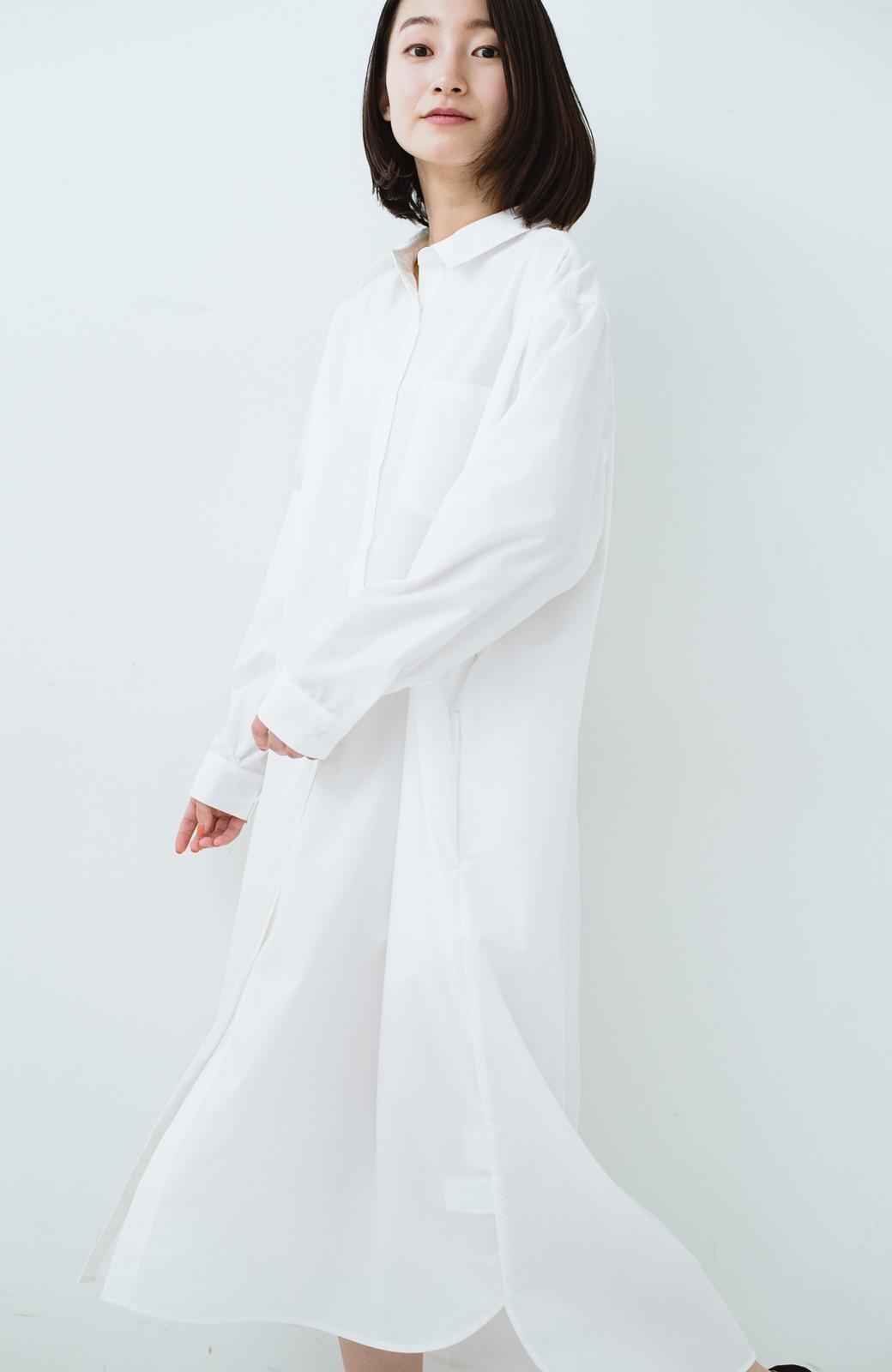 haco! 気持ちが凛と改まる リボン付きオーバーサイズシャツワンピース <ホワイト>の商品写真22