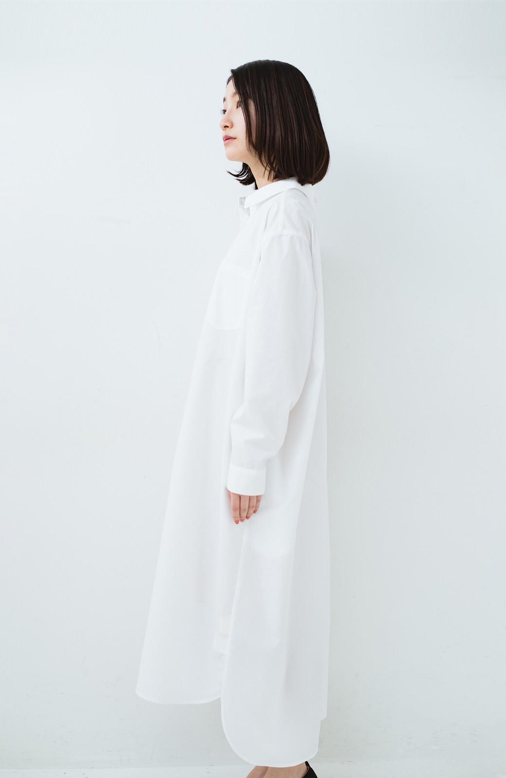 haco! 気持ちが凛と改まる リボン付きオーバーサイズシャツワンピース <ホワイト>の商品写真23