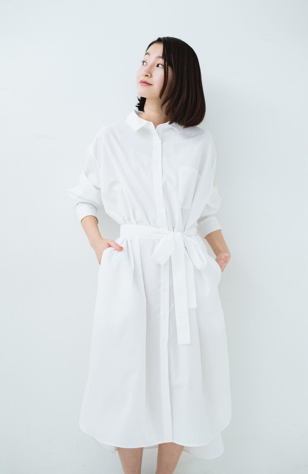 haco! 気持ちが凛と改まる リボン付きオーバーサイズシャツワンピース <ホワイト>の商品写真24