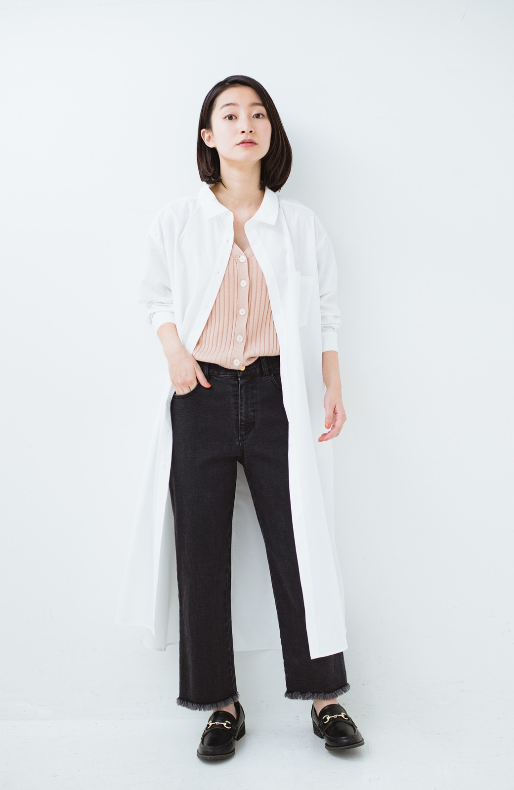 haco! 気持ちが凛と改まる リボン付きオーバーサイズシャツワンピース <ホワイト>の商品写真12