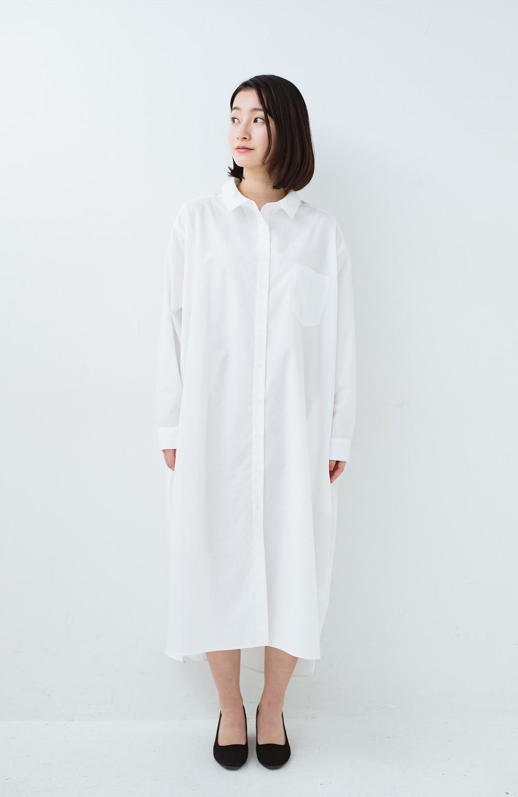 haco! 気持ちが凛と改まる リボン付きオーバーサイズシャツワンピース <ホワイト>の商品写真7