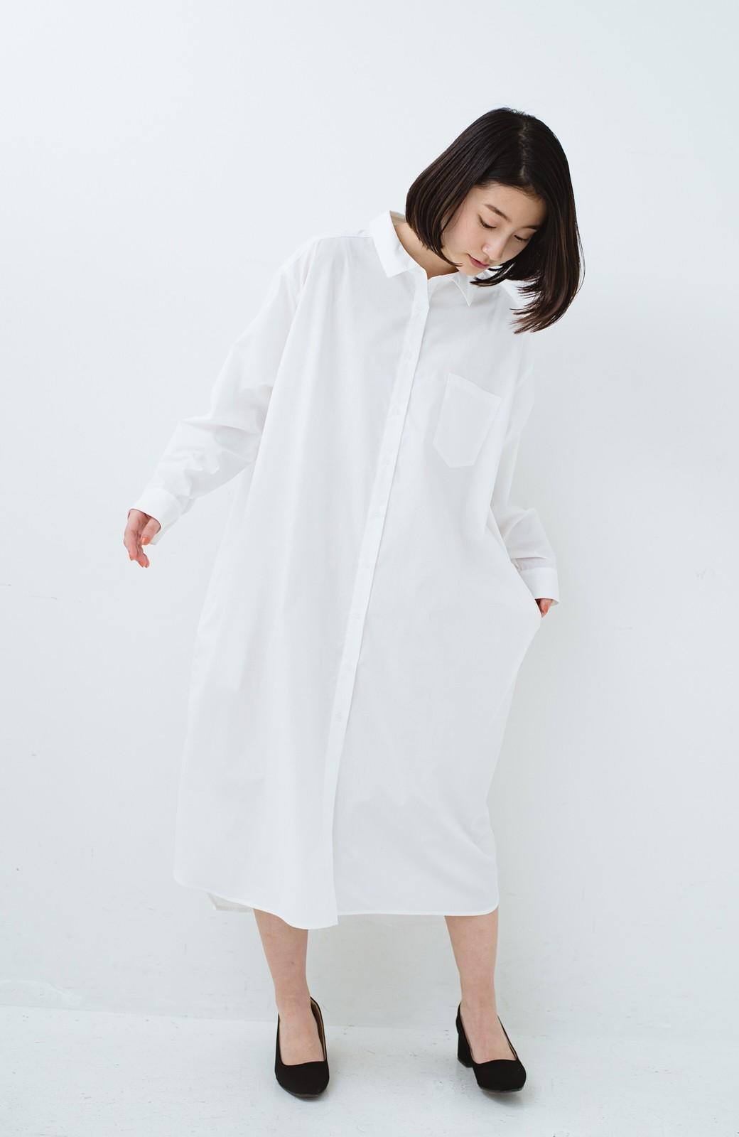 haco! 気持ちが凛と改まる リボン付きオーバーサイズシャツワンピース <ホワイト>の商品写真8