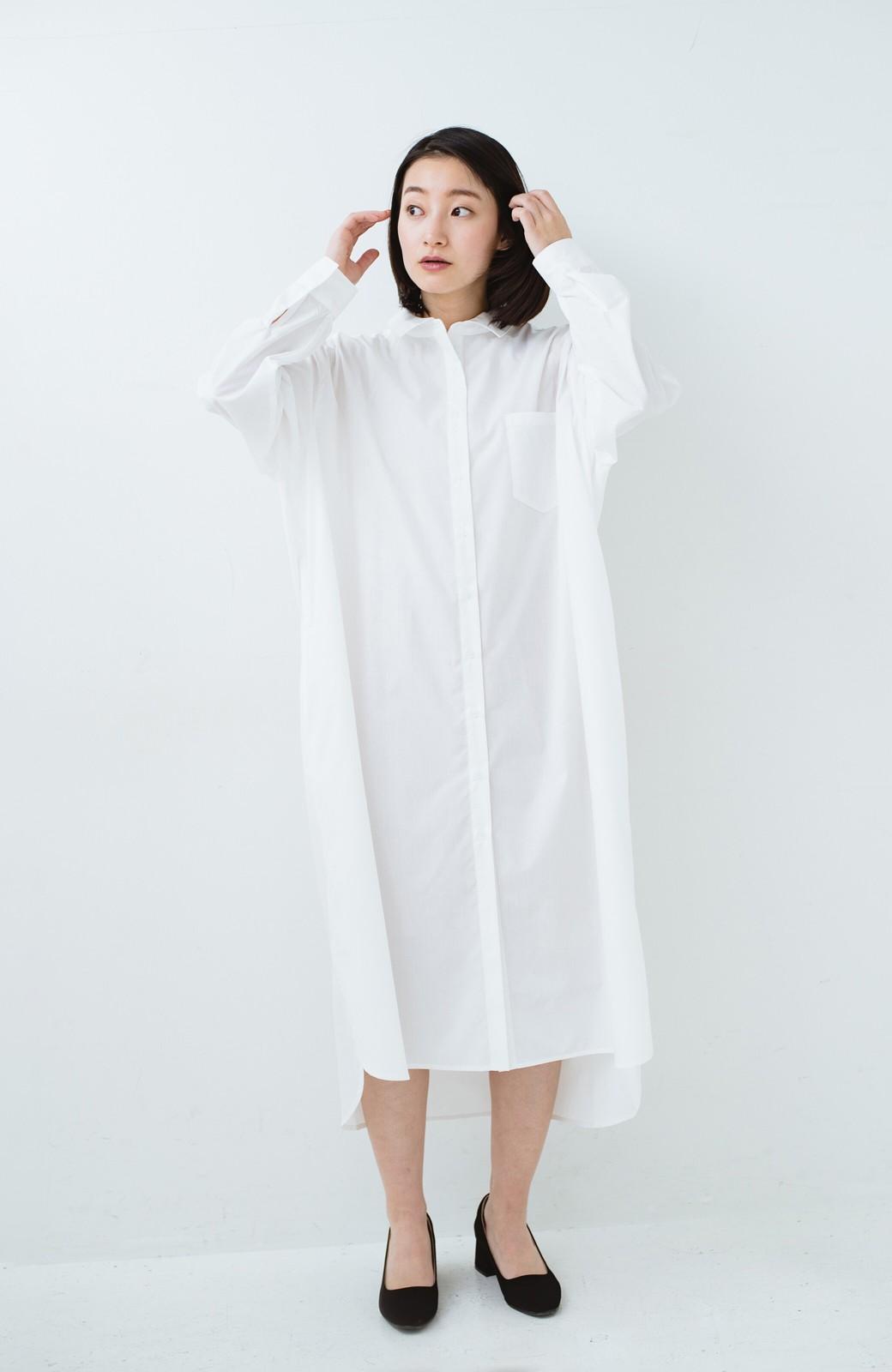 haco! 気持ちが凛と改まる リボン付きオーバーサイズシャツワンピース <ホワイト>の商品写真9
