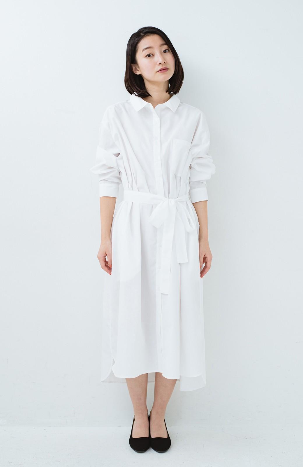 haco! 気持ちが凛と改まる リボン付きオーバーサイズシャツワンピース <ホワイト>の商品写真2