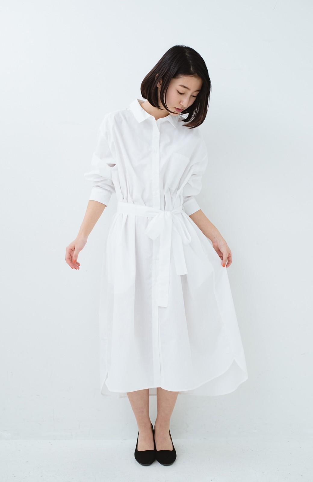 haco! 気持ちが凛と改まる リボン付きオーバーサイズシャツワンピース <ホワイト>の商品写真10