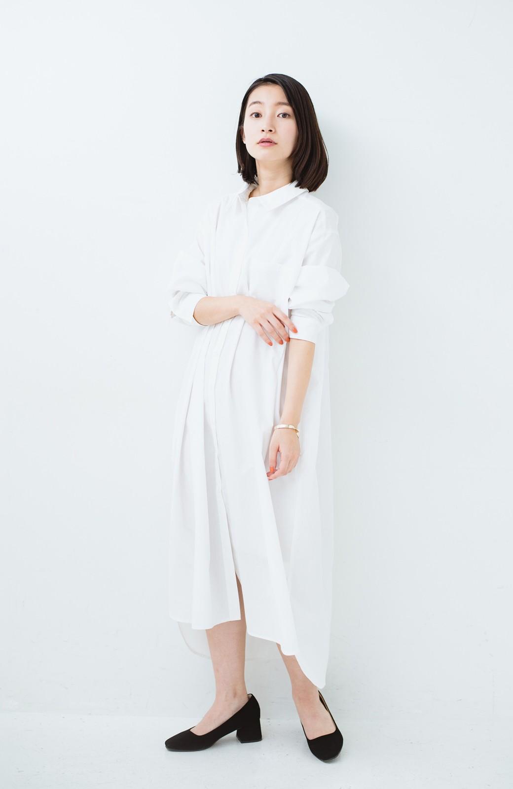 haco! 気持ちが凛と改まる リボン付きオーバーサイズシャツワンピース <ホワイト>の商品写真1