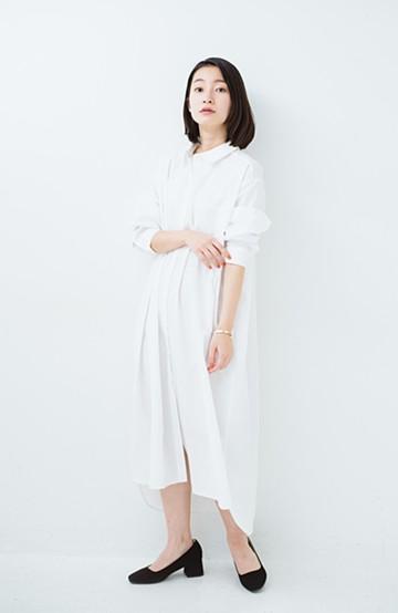 haco! 気持ちが凛と改まる リボン付きオーバーサイズシャツワンピース <ホワイト>の商品写真