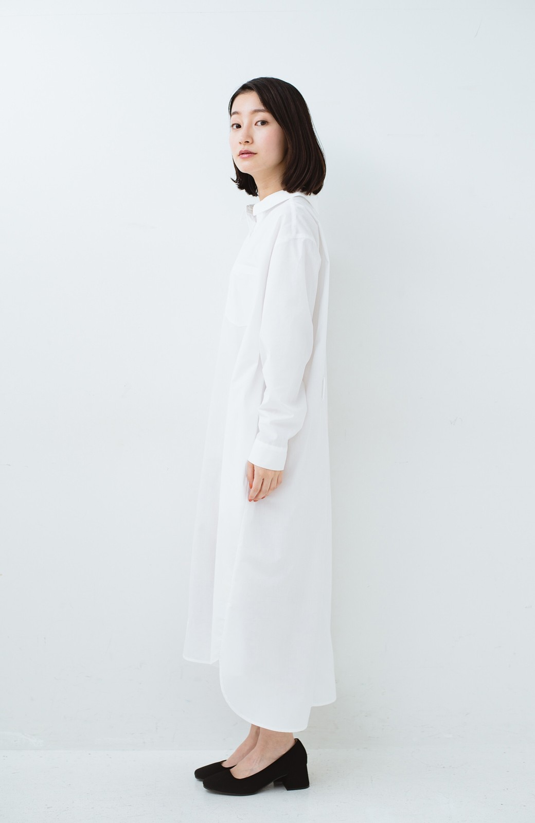 haco! 気持ちが凛と改まる リボン付きオーバーサイズシャツワンピース <ホワイト>の商品写真14