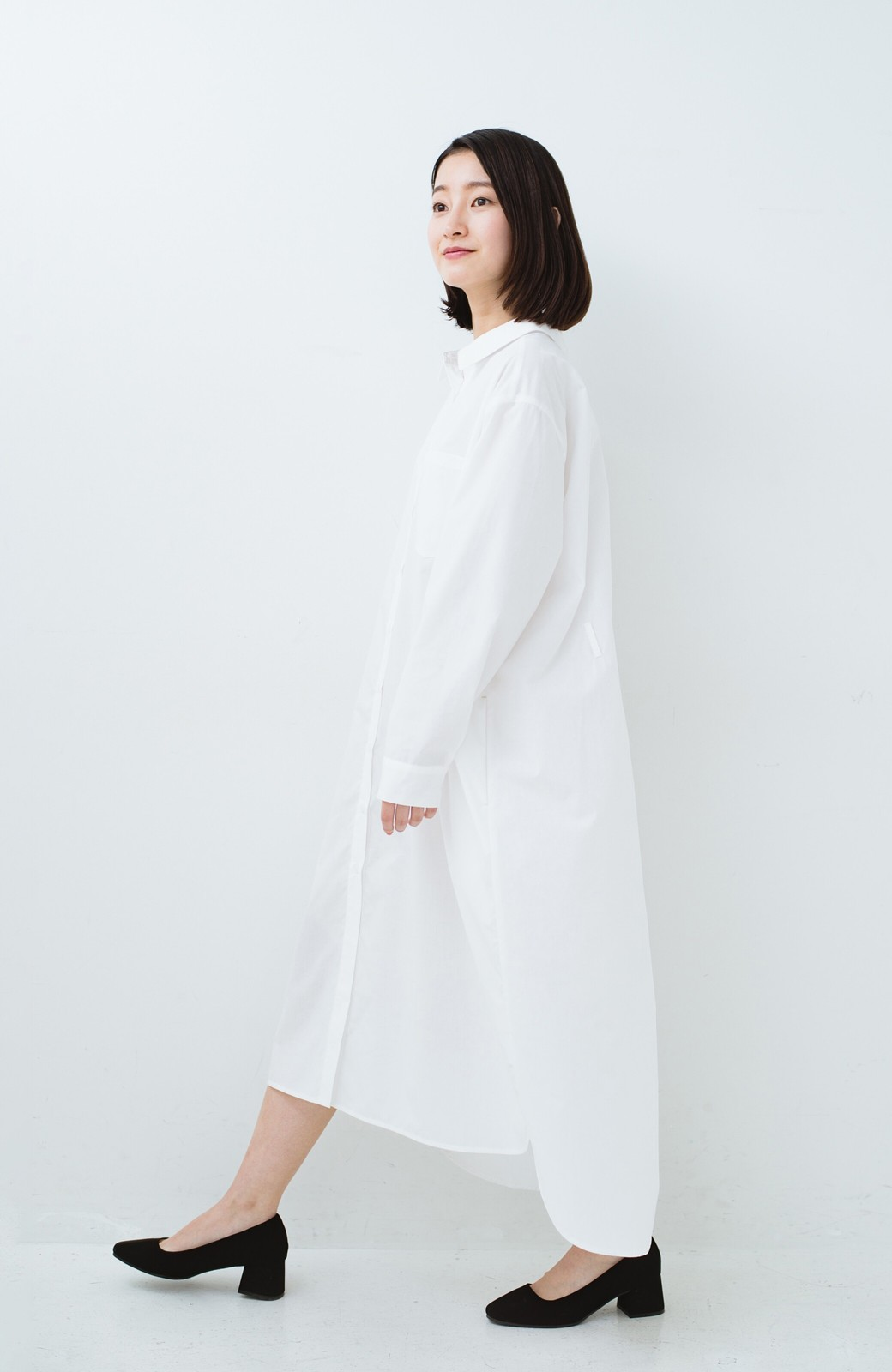 haco! 気持ちが凛と改まる リボン付きオーバーサイズシャツワンピース <ホワイト>の商品写真15