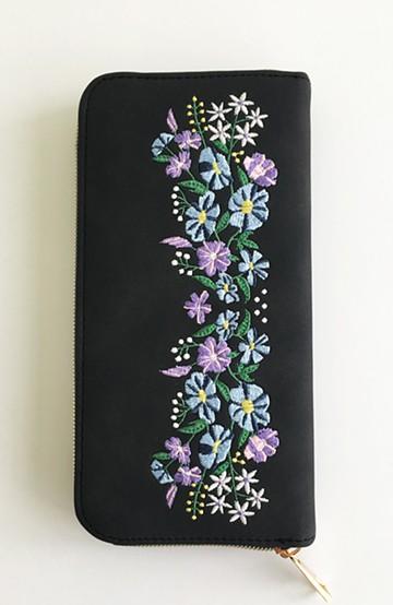 haco! polka polka レトロフラワー刺繍長財布 <ブラック>の商品写真