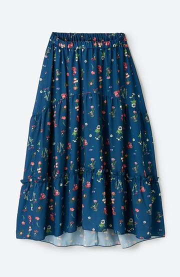 haco! <KANA MATSUNAMI テキスタイル> 野原のブーケ柄プリントのロングギャザースカート <ネイビー>の商品写真