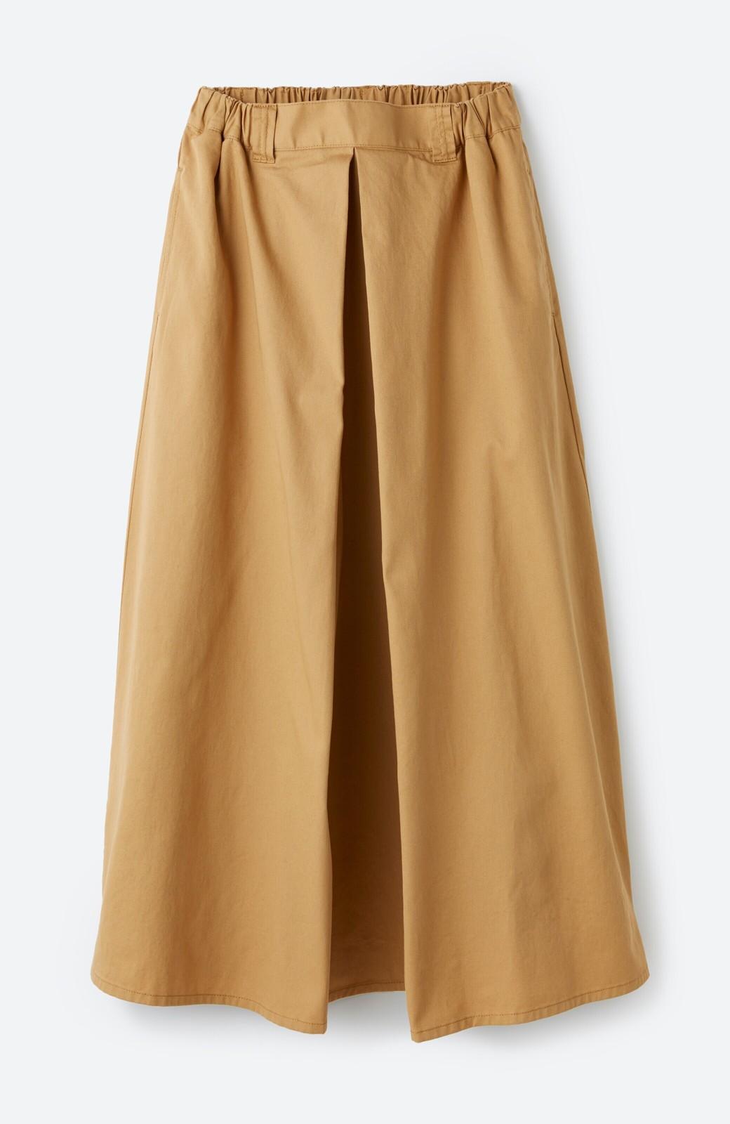 haco! ロングシーズン楽しめる タックボリュームのチノロングスカート <ベージュ>の商品写真2