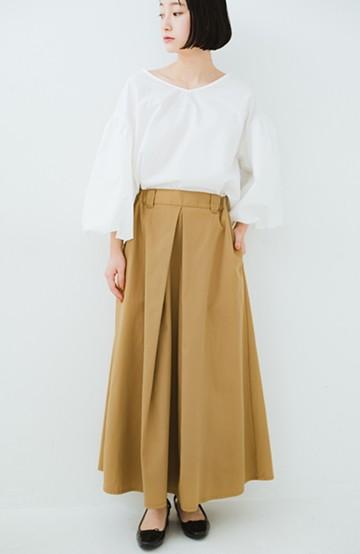 haco! ロングシーズン楽しめる タックボリュームのチノロングスカート <ベージュ>の商品写真