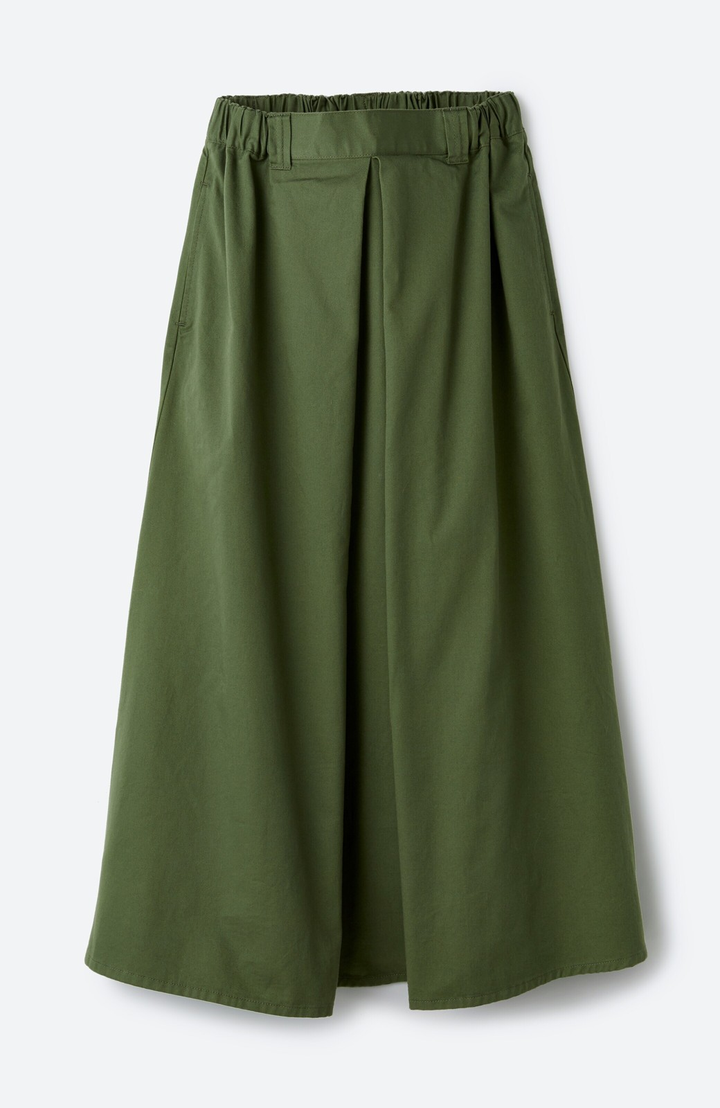haco! ロングシーズン楽しめる タックボリュームのチノロングスカート <カーキ>の商品写真2