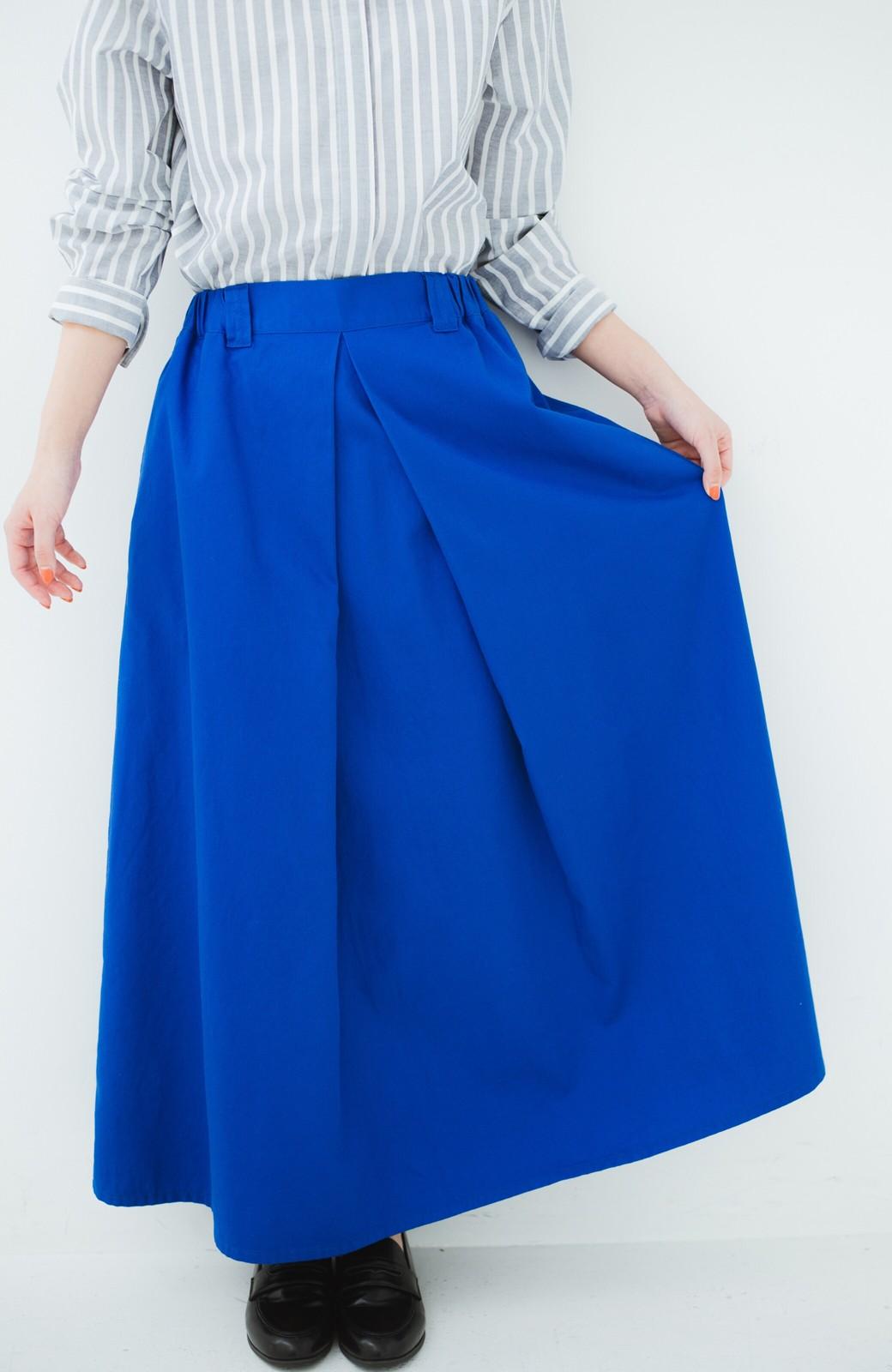 haco! 【今年も再販!】ロングシーズン楽しめる タックボリュームのチノロングスカート <ブルー>の商品写真1