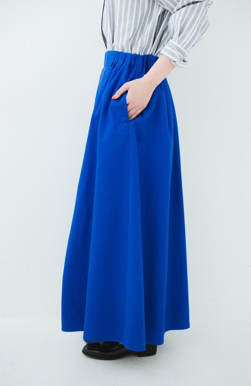 haco! 【今年も再販!】ロングシーズン楽しめる タックボリュームのチノロングスカート <ブルー>の商品写真5