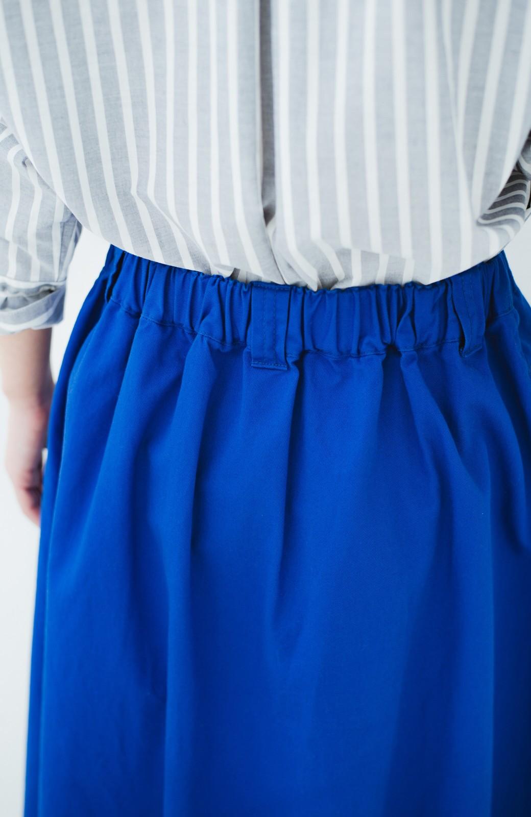 haco! 【今年も再販!】ロングシーズン楽しめる タックボリュームのチノロングスカート <ブルー>の商品写真9