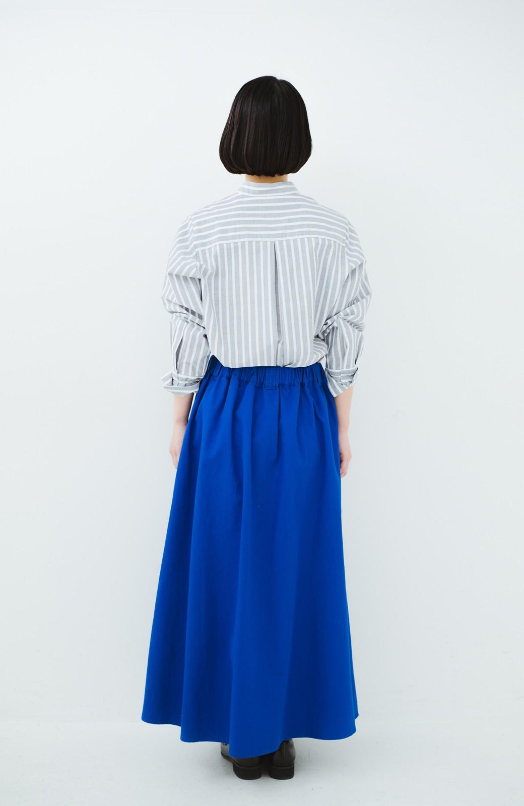 haco! 【今年も再販!】ロングシーズン楽しめる タックボリュームのチノロングスカート <ブルー>の商品写真17