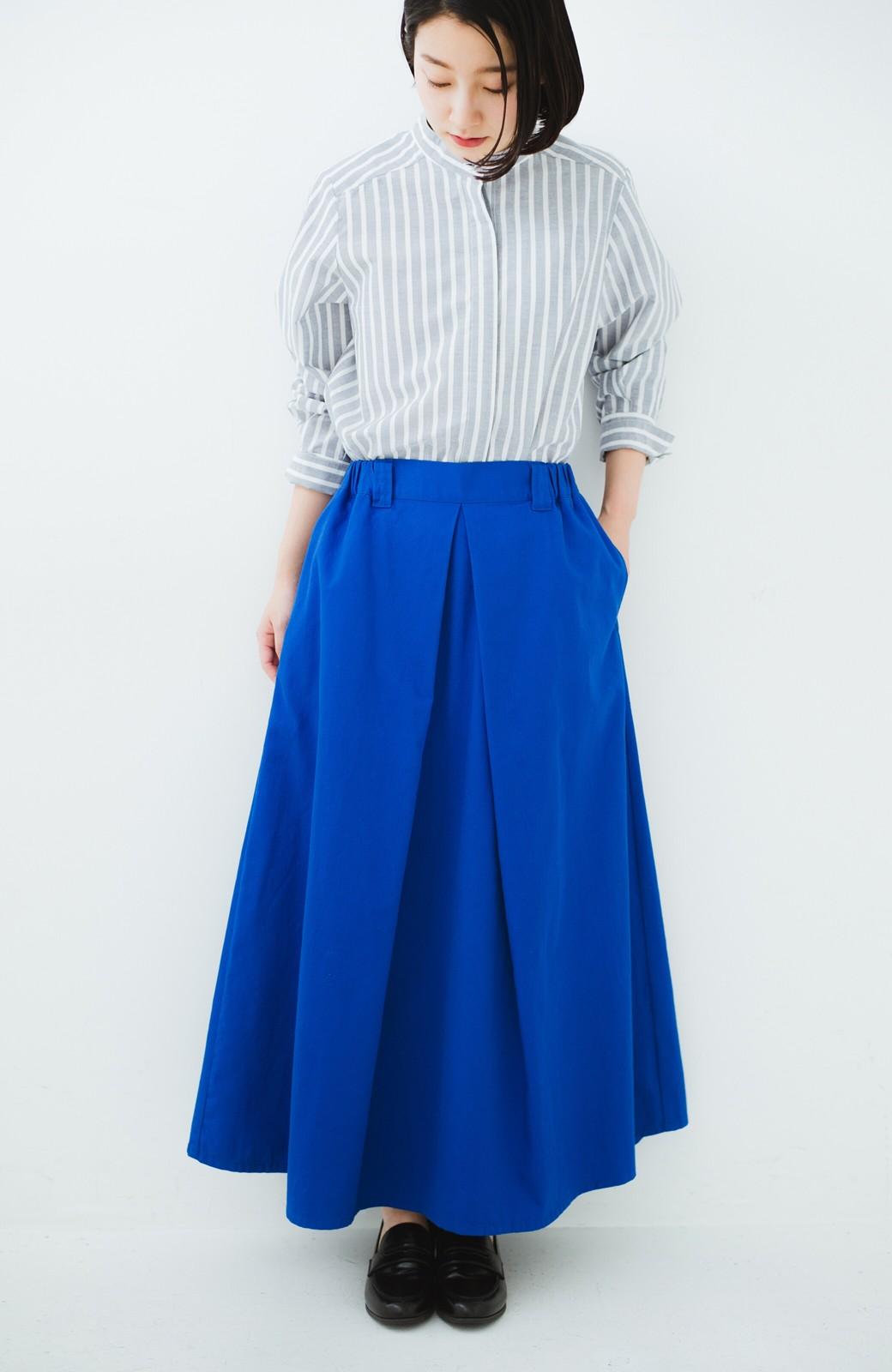 haco! 【今年も再販!】ロングシーズン楽しめる タックボリュームのチノロングスカート <ブルー>の商品写真18