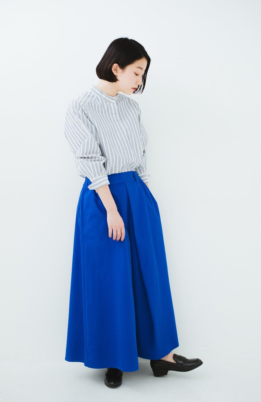 haco! 【今年も再販!】ロングシーズン楽しめる タックボリュームのチノロングスカート <ブルー>の商品写真11
