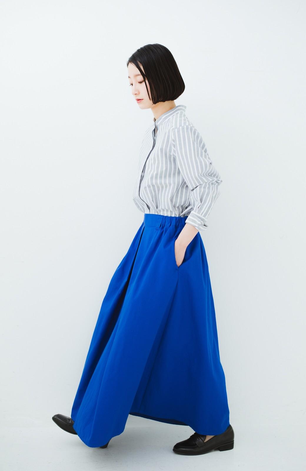haco! 【今年も再販!】ロングシーズン楽しめる タックボリュームのチノロングスカート <ブルー>の商品写真16