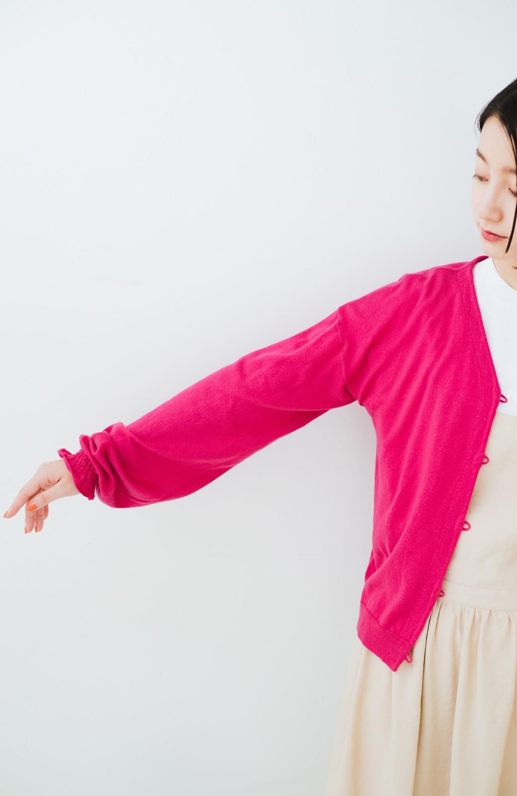 haco! 我らが天敵紫外線!UVカット加工の袖シャーリングニットカーディガン <ピンク>の商品写真14