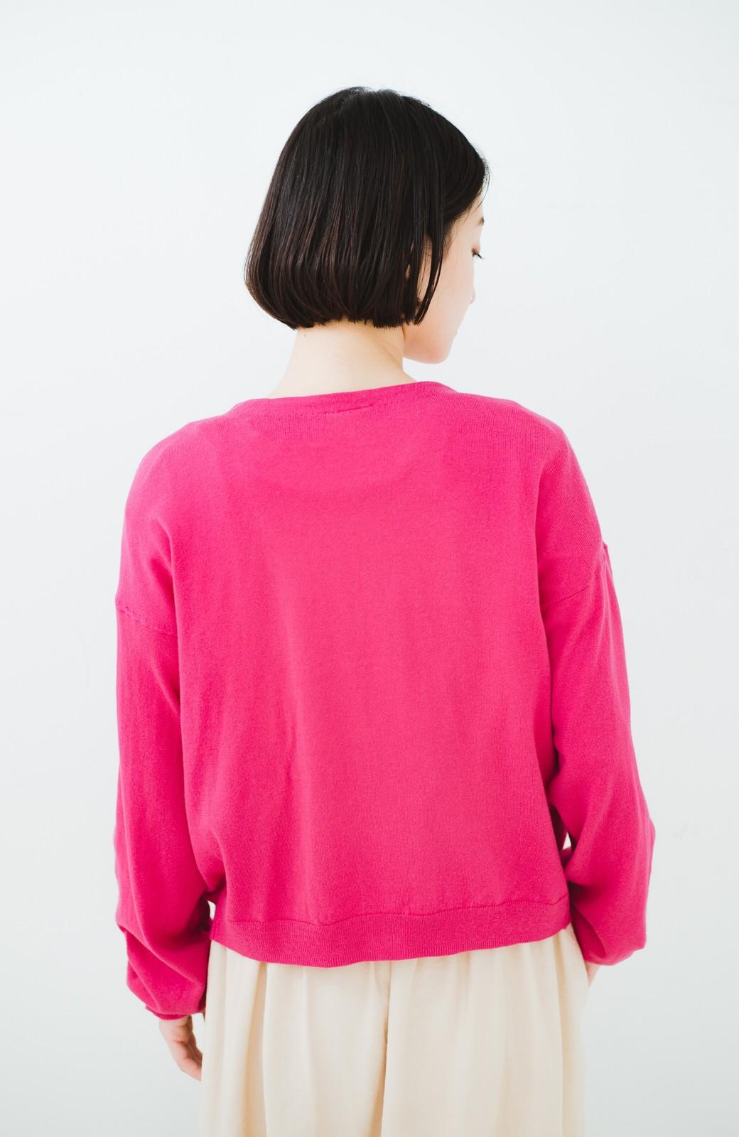 haco! 我らが天敵紫外線!UVカット加工の袖シャーリングニットカーディガン <ピンク>の商品写真16