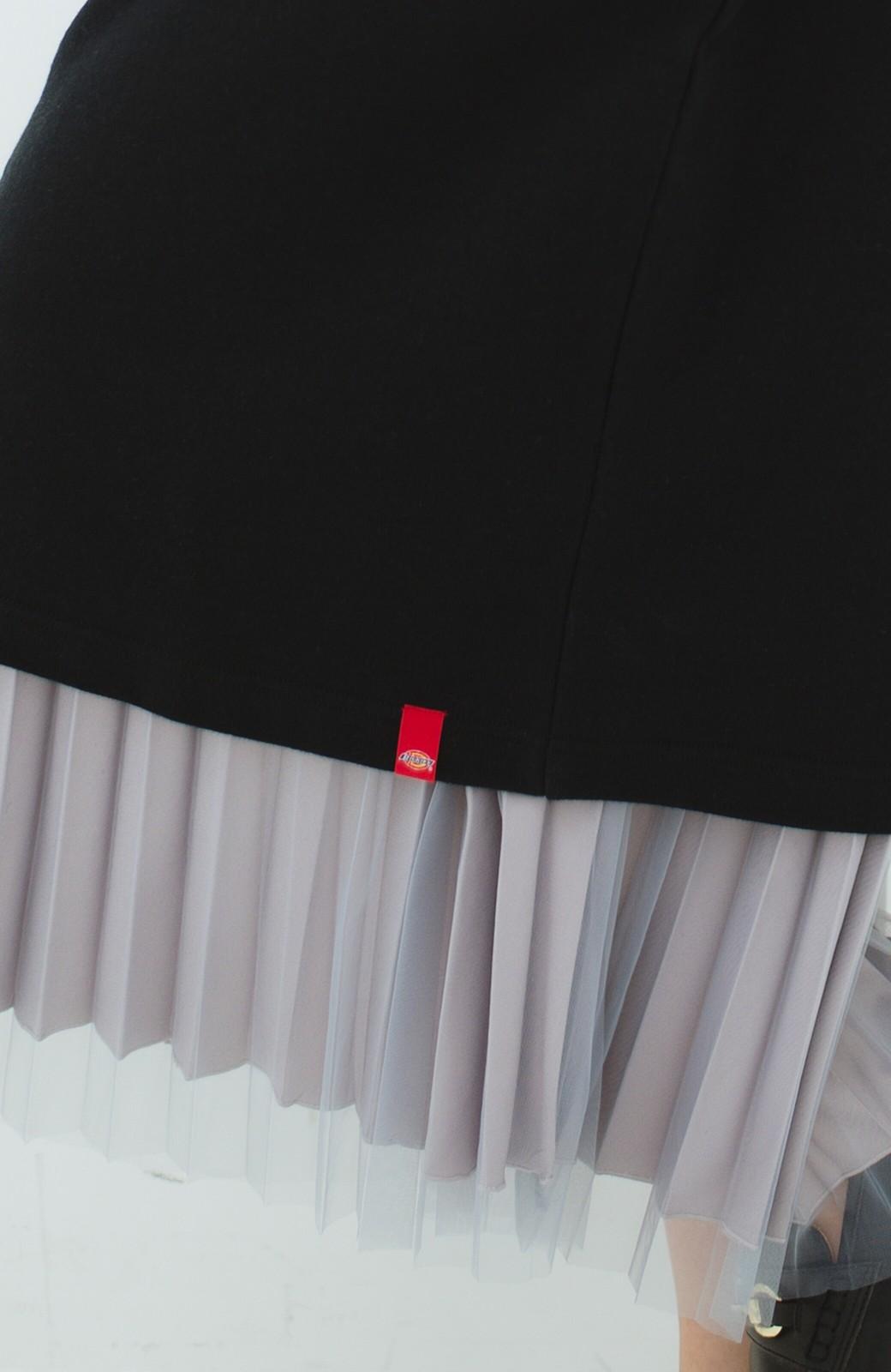 haco! Dickies 別注 ロングシーズン着られるワッペン付きスウェットコクーンワンピース <ブラック>の商品写真4