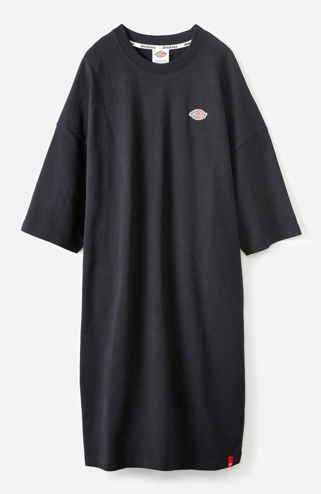 haco! Dickies 別注 ロングシーズン着られるワッペン付きスウェットコクーンワンピース <ブラック>の商品写真2