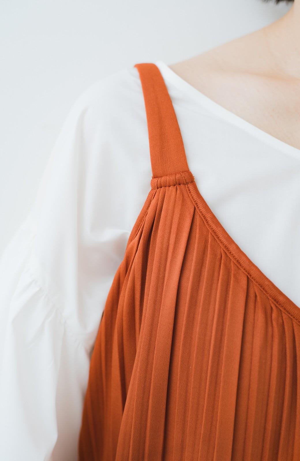 haco! 旅行にも便利なプリーツデザインオールインワン <オレンジ>の商品写真3